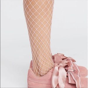 NWT. Free People Libby Fishnet Tights - Pink
